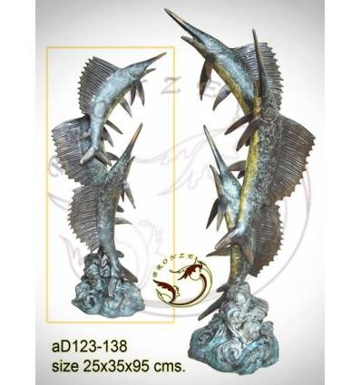 Bronze animalier : espadon en bronze ad123-138 ( H .95 x L .35 Cm )