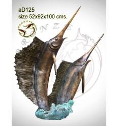 Bronze animalier : espadon en bronze ad125-100 ( H .100 x L .92 Cm )