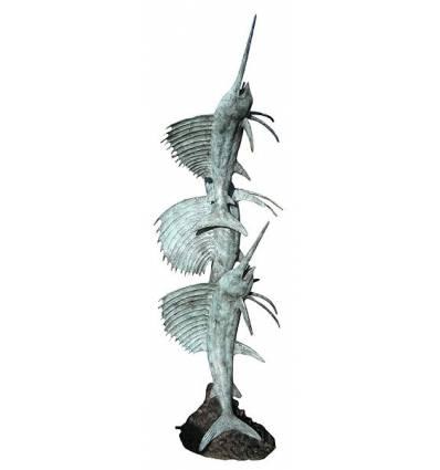 Bronze animalier : espadon en bronze BRZ0494  ( H .243 x L .106 Cm )  Poids : 70 Kg