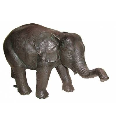 Bronze animalier : éléphant en bronze BRZ0787M-20  ( H .51 x L .89 Cm )  Poids : 24 Kg