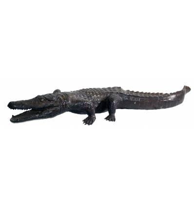 Bronze animalier :Crocodile en bronze BRZ126  ( H .15 x L :110 Cm )  Poids : 9 Kg