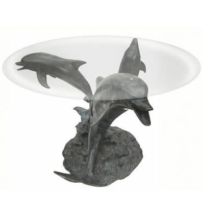 Table basse de salon en bronze BRZ0516 ( H .71 x L .76 Cm ) Poids : 33 Kg