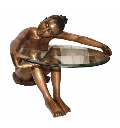 Table basse de salon en bronze BRZ1393 ( H .63 x L .73 Cm ) Poids : 30 Kg