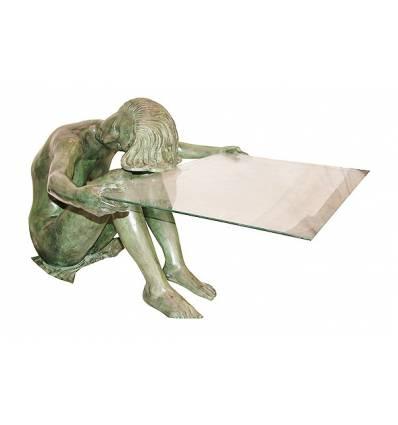 Table basse de salon en bronze BRZ1394V  ( H .58 x L .84 Cm )  Poids : 38 Kg