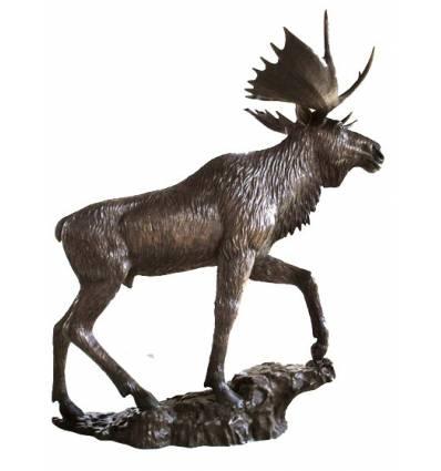 Caribou en bronze BRZ1370  ( H .225 x L .220 Cm )  Poids : 173 Kg