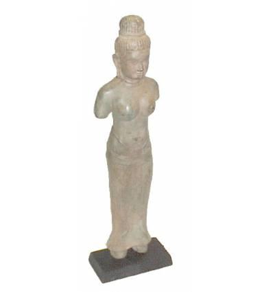 Sculpture de bouddha antique en bronze BRZ0611  ( H .45 Cm )  Poids : 3 Kg