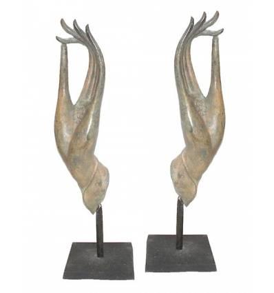 Sculpture de bouddha antique en bronze BRZ0663 ( H .71 Cm )