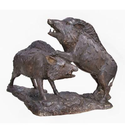 Sanglier en bronze BRZ1333 ( H .96 x L .132 Cm ) Poids : 95 Kg