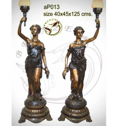 ( H .125 x L :45 Cm ) Lampe en bronze ap013-100
