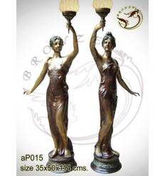 ( H .114 x L :50 Cm ) Lampe en bronze ap015-100