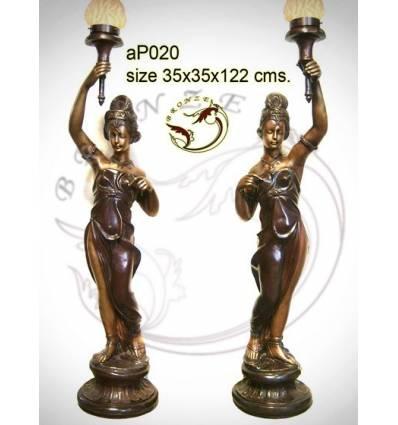 ( H .122 x L :35 Cm ) Lampe en bronze ap020-100