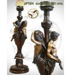( H .80 x L :25 Cm ) Lampe en bronze ap064-100