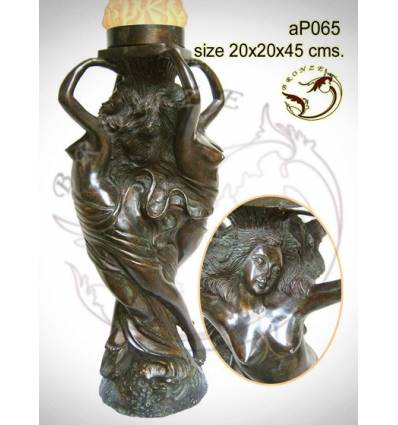 ( H .45 x L :20 Cm ) Lampe en bronze ap065-100