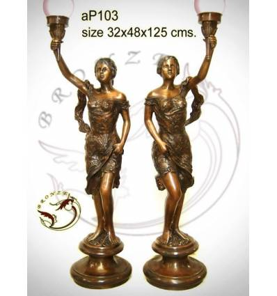 ( H .125 x L :48 Cm ) Lampe en bronze ap103-100