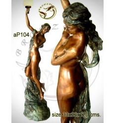 ( H .120 x L :33 Cm ) Lampe en bronze ap104-100