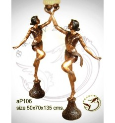 ( H .135 x L :70 Cm ) Lampe en bronze ap106-100