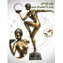 ( H .70 x L :48 Cm ) Lampe en bronze ap108-200