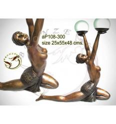 ( H .48 x L :55 Cm ) Lampe en bronze ap108-300