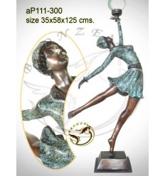 ( H .125 x L :58 Cm ) Lampe en bronze ap111-300
