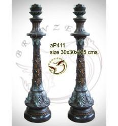 ( H .125 x L :30 Cm ) Lampe en bronze ap411-100
