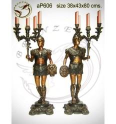 ( H .80 x L :43 Cm ) Lampe en bronze ap606-100