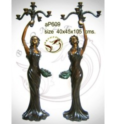 ( H .106 x L :45 Cm ) Lampe en bronze ap609-100