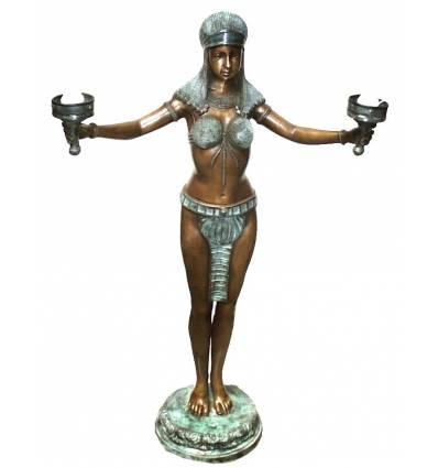 ( H .122 x L :76 Cm ) Lampe en bronze BRZ0777