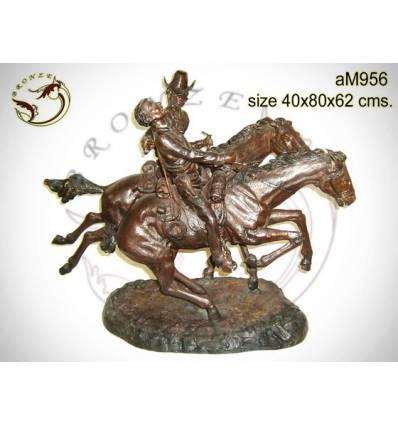 Sculpture de cavalier cowboy en bronze AM956 ( H .62 x L :80 Cm ) Poids : Kg