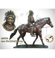 Sculpture de cavalier cowboy en bronze AM959 ( H .235 x L :300 Cm ) Poids : Kg