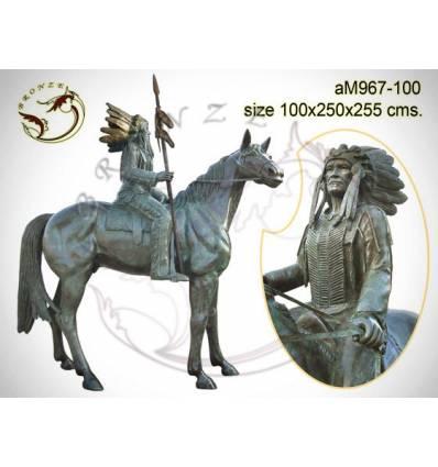 Sculpture de cavalier cowboy en bronze AM967  ( H .255 x L :250 Cm )  Poids :  Kg