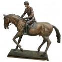 Sculpture de cavalier en bronze BRZ0062M-24  ( H .60 x L :56 Cm )  Poids : 10 Kg