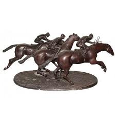 Sculpture de cavalier en bronze BRZ1375 ( H .38 x L :96 Cm ) Poids : 34 Kg