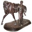 Sculpture de cavalier en bronze BRZ1399 ( H .66 x L :104 Cm ) Poids : 70 Kg