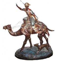 Sculpture de cavaliers arabe en bronze BRZ0138-28 ( H .70 x L :66 Cm ) Poids : 19 Kg