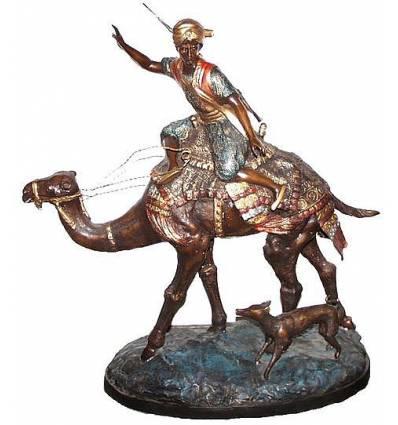 Sculpture de cavaliers arabe en bronze BRZ0138A-28  ( H .70 x L :66 Cm )  Poids : 19 Kg
