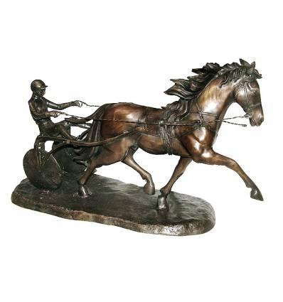 Sculpture de cavaliers arabe en bronze BRZ0682  ( H .58 x L :88 Cm )  Poids : 26 Kg