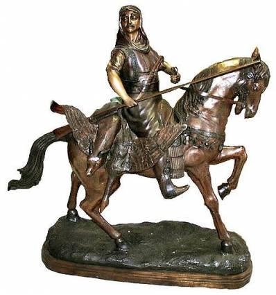 Sculpture de cavaliers arabe en bronze BRZ0707-50  ( H .127 x L :117 Cm )  Poids : 0 Kg