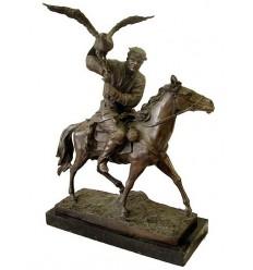 Sculpture de cavalier en bronze BRZ1061/SM125  ( H .61 x L :48 Cm )  Poids : 23 Kg