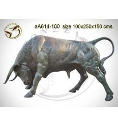 Taureau en bronze aa614-100 ( H .150 x L :250 Cm ) Poids : Kg