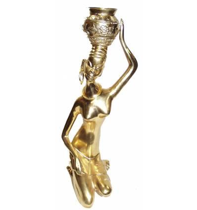 Sculpture africaine en bronze BRZ0003O-14 ( H .35 x L : Cm ) Poids : 3 Kg