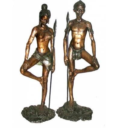 Sculpture africaine en bronze BRZ0279-36 ( H .91 x L :88 Cm ) Poids : 35 Kg