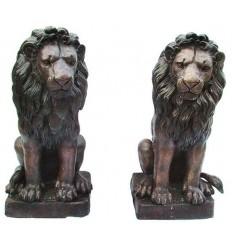 Lion en bronze BRZ1292  ( H .81 x L :43 Cm )  Poids : 71 Kg