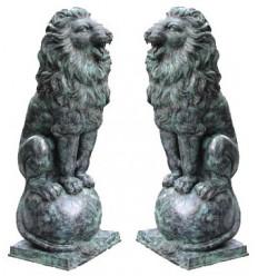 Couple de lions en bronze BRZ0786v ( H .145 x L 71 : Cm ) Poids : 190 Kg