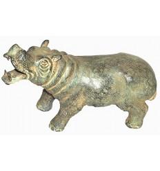 hippopotame en bronze BRZ0206V  ( H .17 x L .27 Cm )