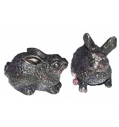 lapin en bronze BRZ0598  ( H .10 x L .10 Cm )  Poids : 1 Kg