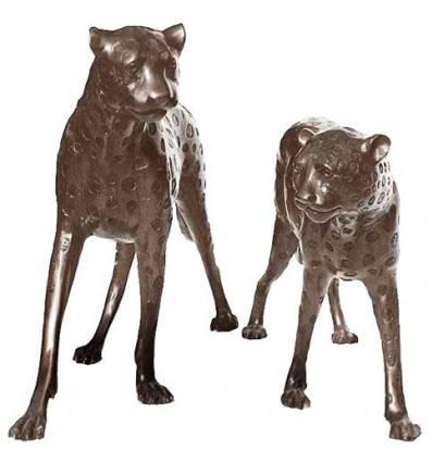 léopard en bronze BRZ0085  ( H .81 x L .154 Cm )  Poids : 72 Kg