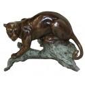 léopard en bronze BRZ0670mv  ( H . 20 x L . 30Cm )