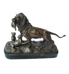 lion en bronze BRZ1270/SM245  ( H .30 x L .45 Cm )