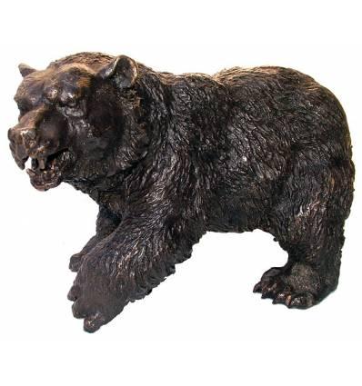 ours en bronze BRZ0605  ( H .23 x L .36 Cm )  Poids : 8 Kg