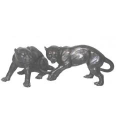 panthère en bronze BRZ0084N  ( H .27 x L .43 Cm )  Poids : 12 Kg